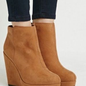Attention Faux Suede Emily Chestnut Wedge Booties